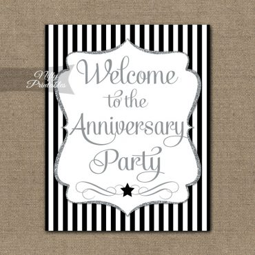 Anniversary Welcome Sign - Black Silver Stripe