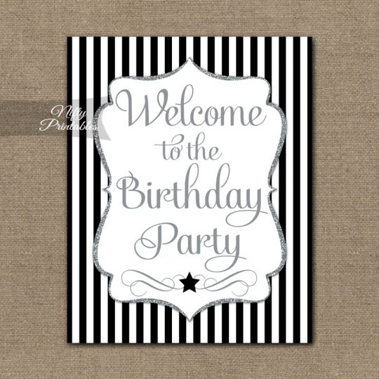 Happy Birthday Welcome Sign - Black Silver Stripe