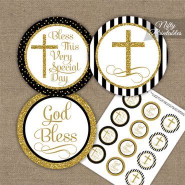 Baptism Black White Gold Stripe Cupcake Toppers