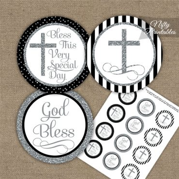 Baptism Black White Silver Stripe Cupcake Toppers