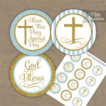 Baptism Light Blue Gold Stripe Cupcake Toppers