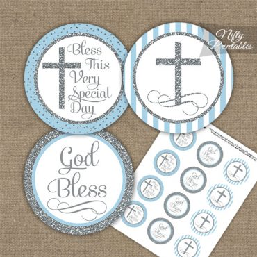 Baptism Light Blue Silver Stripe Cupcake Toppers