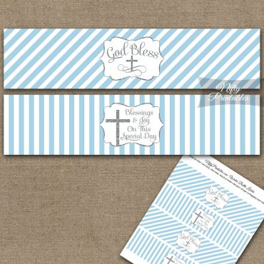 Baptism Light Blue Silver Stripe Water Bottle Labels