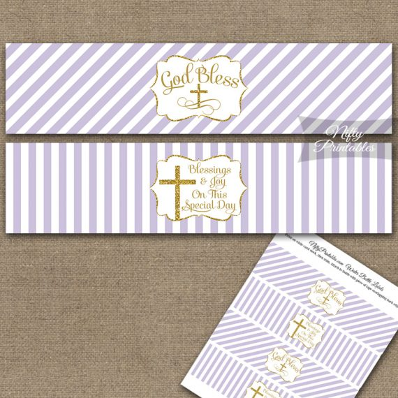 Baptism Lilac White Gold Stripe Water Bottle Labels