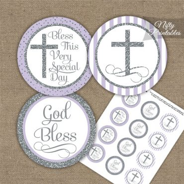 Baptism Lilac White Silver Stripe Cupcake Toppers