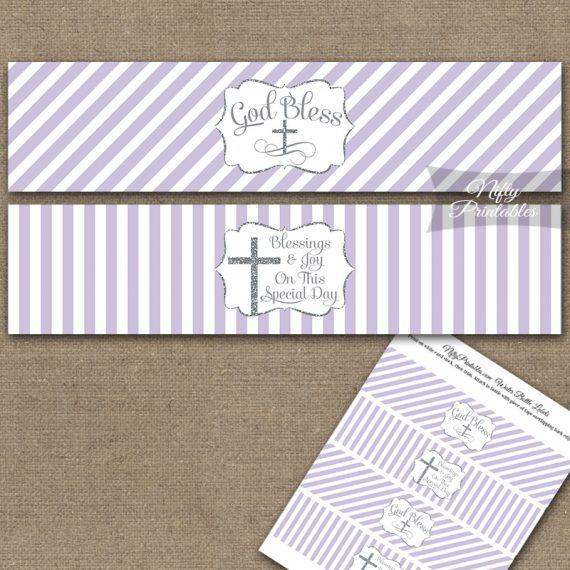 Baptism Lilac White Silver Stripe Water Bottle Labels