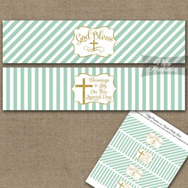 Baptism Mint Green White Gold Stripe Water Bottle Labels
