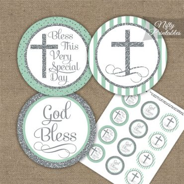 Baptism Mint Green White Silver Stripe Cupcake Toppers