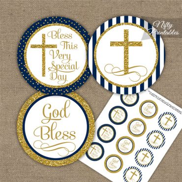 Baptism Navy Blue Gold Stripe Cupcake Toppers