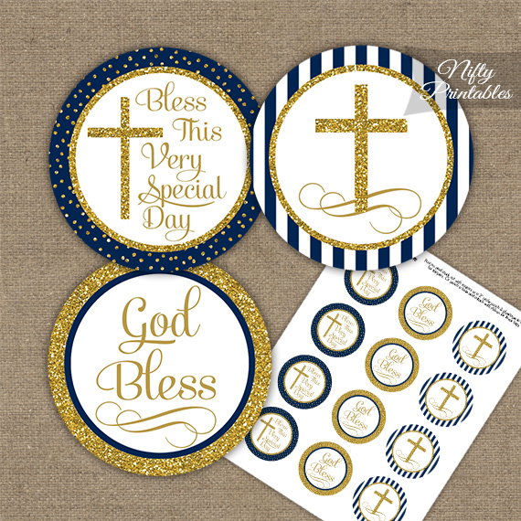 Baptism Navy Blue Gold Stripe Cupcake Toppers - Nifty ...