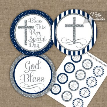 Baptism Navy Blue White Silver Stripe Cupcake Toppers