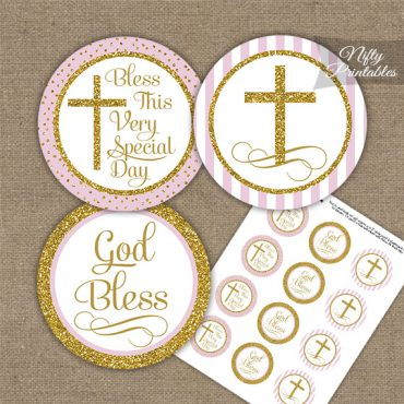 Baptism Pink White Gold Stripe Cupcake Toppers