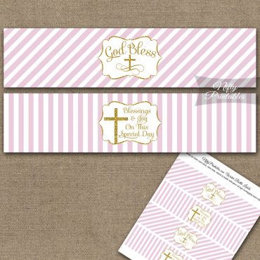 Baptism Pink White Gold Stripe Water Bottle Labels