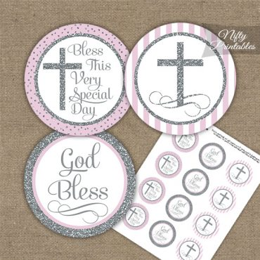 Baptism Pink White Silver Stripe Cupcake Toppers