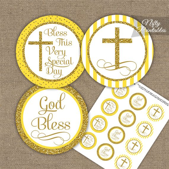 Baptism Yellow White Gold Stripe Cupcake Toppers