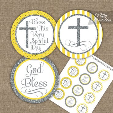 Baptism Yellow White Silver Stripe Cupcake Toppers