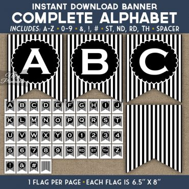 Alphabet Party Banner - Black White Stripe