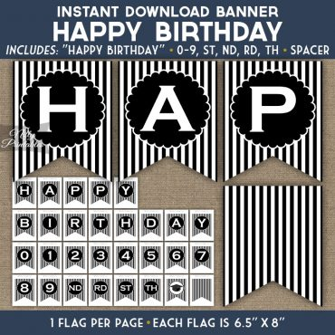 Happy Birthday Banner - Black White Stripe