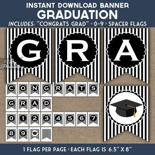 Graduation Banner - Black White Stripe