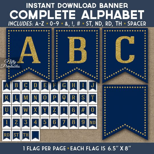 Alphabet Party Banner - Bold Navy Gold Glitter