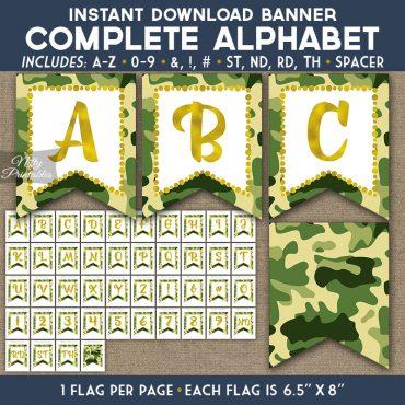 Alphabet Party Banner - Camo