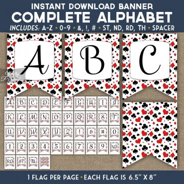 Alphabet Party Banner - Casino Poker
