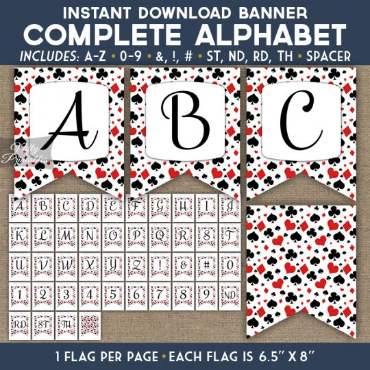 Alphabet Party Banner - Casino Poker