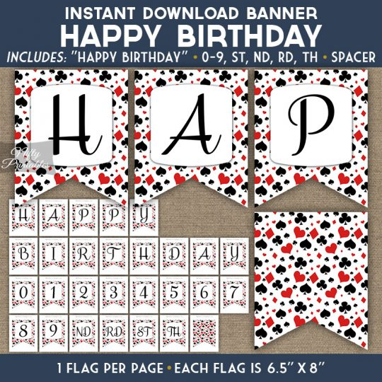 Happy Birthday Banner - Casino Poker