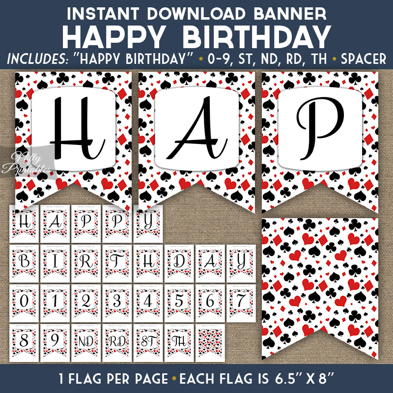 image relating to Printable Birthday Banner identified as Delighted Birthday Banner - On line casino Poker