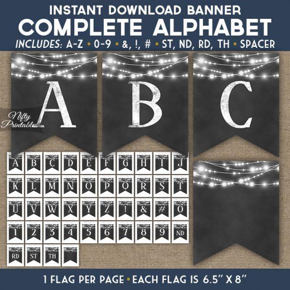 Alphabet Party Banner - Chalkboard Lights