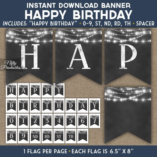 Happy Birthday Banner - Chalkboard Lights