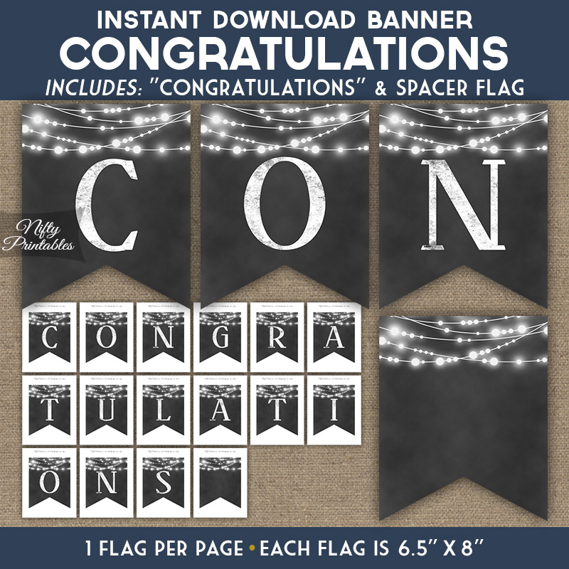 congratulations banner chalkboard lights nifty printables