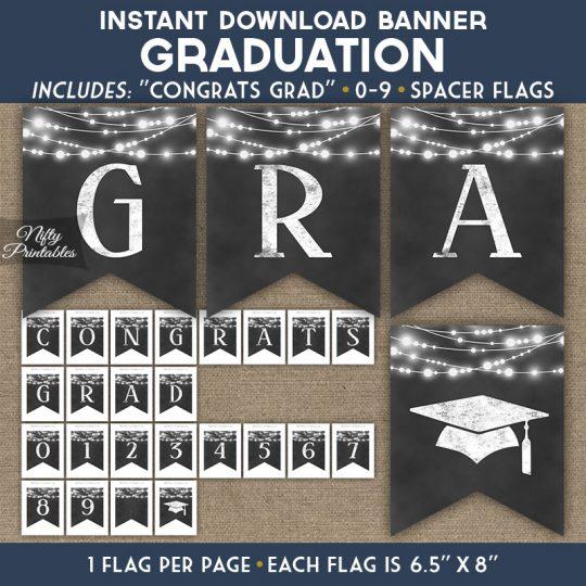 Graduation Banner - Chalkboard Lights