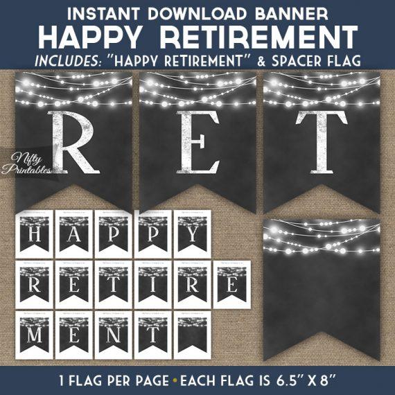 Retirement Banner - Chalkboard Lights