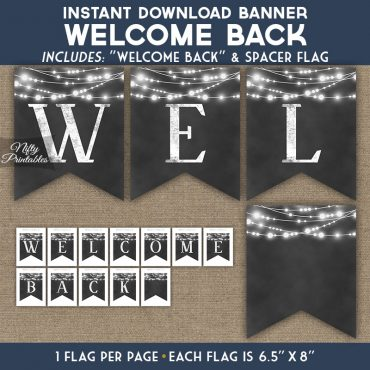 Welcome Back Banner - Chalkboard Lights