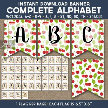 Alphabet Party Banner - Cherries