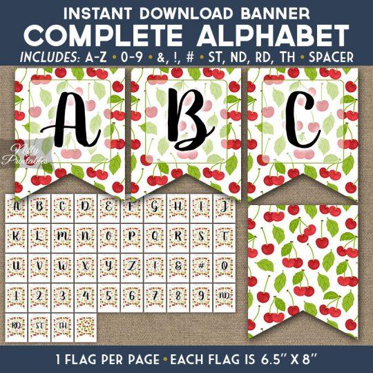 Alphabet Party Banner - Cherries
