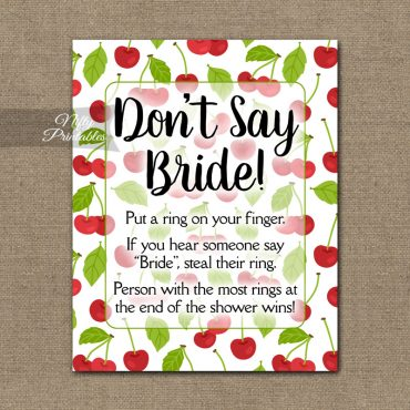 Don't Say Bride Shower Game - Cherries
