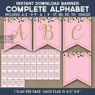 Alphabet Party Banner - Pink Gold Confetti