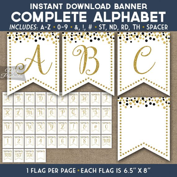 Alphabet Party Banner - White Gold Confetti