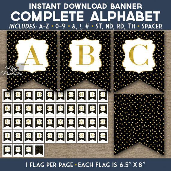 Alphabet Party Banner - Black Gold Glitter Dots