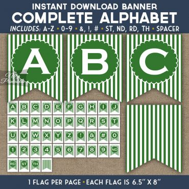 Alphabet Party Banner - Green White Stripe