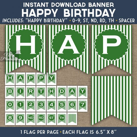 Happy Birthday Banner - Green White Stripe