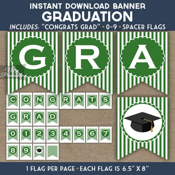 Graduation Banner - Green White Stripe
