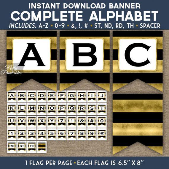 Alphabet Party Banner - Black Gold Horizontal Stripes