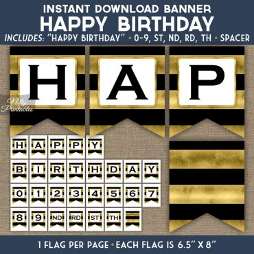 Happy Birthday Banner - Black Gold Horizontal Stripes
