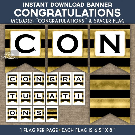 Congratulations Banner - Black Gold Horizontal Stripes