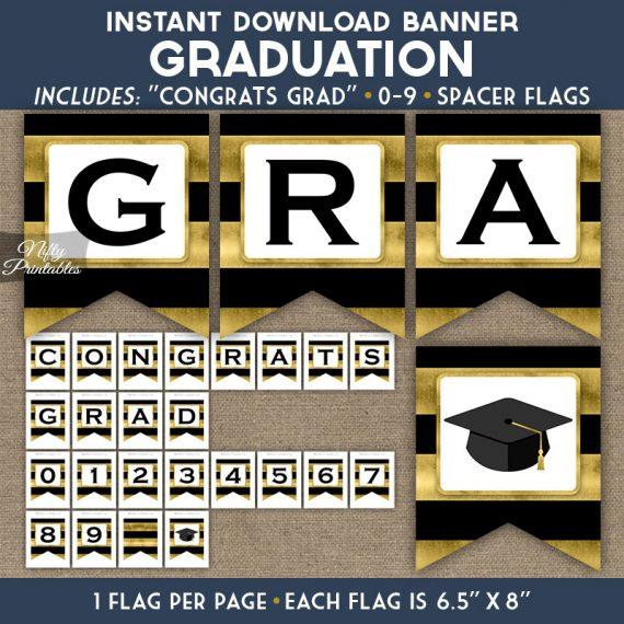 Graduation Banner - Black Gold Horizontal Stripes