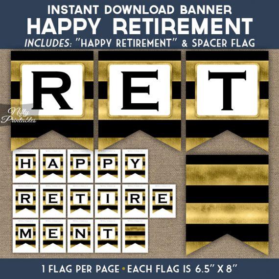 Retirement Banner - Black Gold Horizontal Stripes