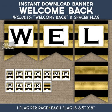 Welcome Back Banner - Black Gold Horizontal Stripes